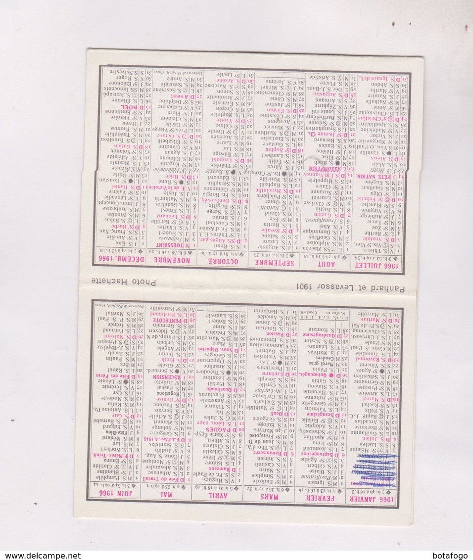 PETIT CALENDRIER  1966 (en 2 Volets)  LA TERRASSE FLEURIE A ST LARY DPT 65 - Calendriers