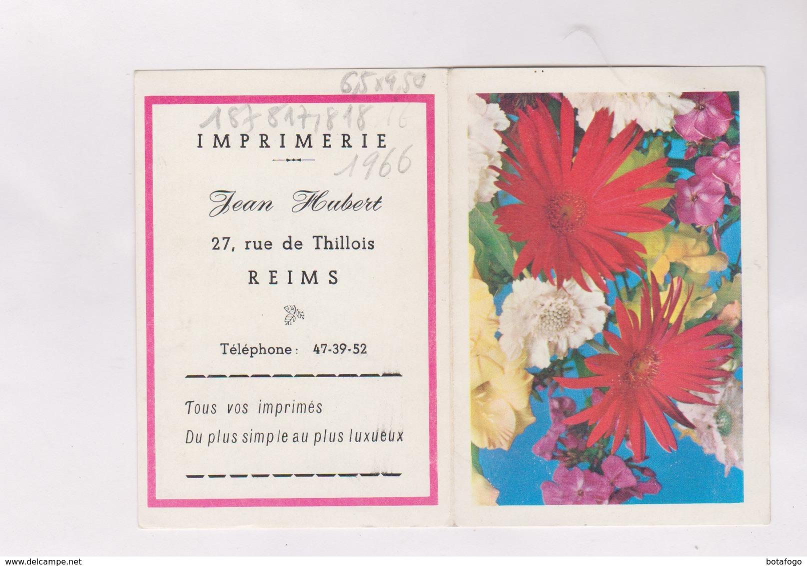 PETIT CALENDRIER  1966 (en 2 Volets)  IMPRIMERIE HUBERT A REIMS - Petit Format : 1961-70