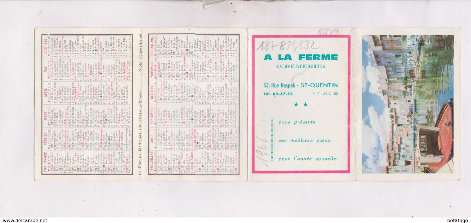 PETIT CALENDRIER  1966 (en 4 Volets) A LA FERME CREMERIE A ST QUENTIN - Petit Format : 1961-70