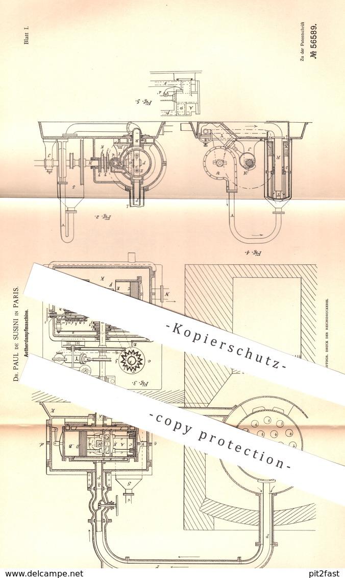 Original Patent - Dr. Paul De Susini , Paris , Frankreich , 1890 , Aetherdampfmaschine | Aether - Dampfmaschine | Motor - Historische Dokumente