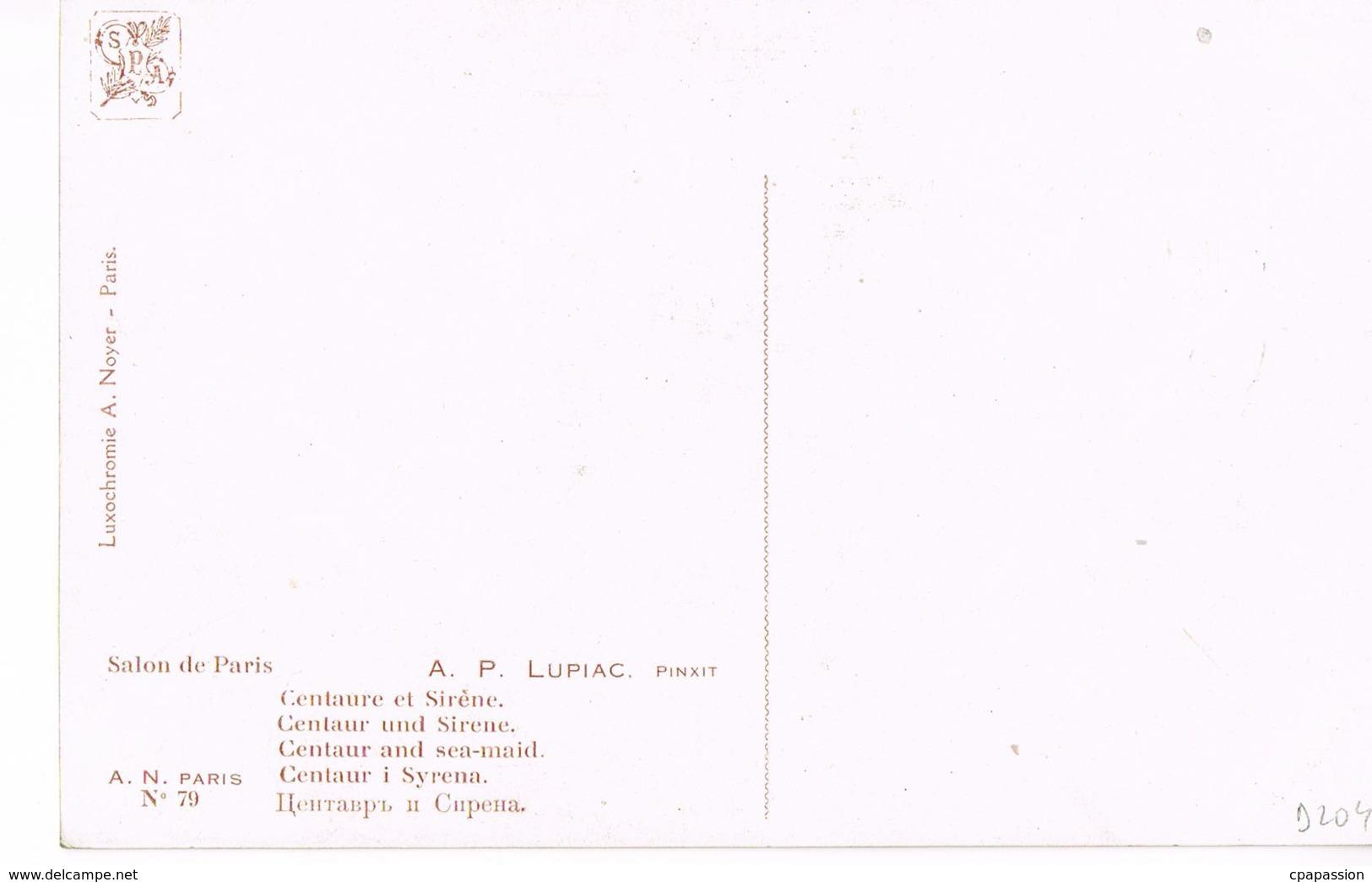 A.P LUPIAC - 1873- 1956 -- Pinxit -Centaure Et Sirène- Centaur And Sea-maid-Recto Verso- Paypal Free - Peintures & Tableaux