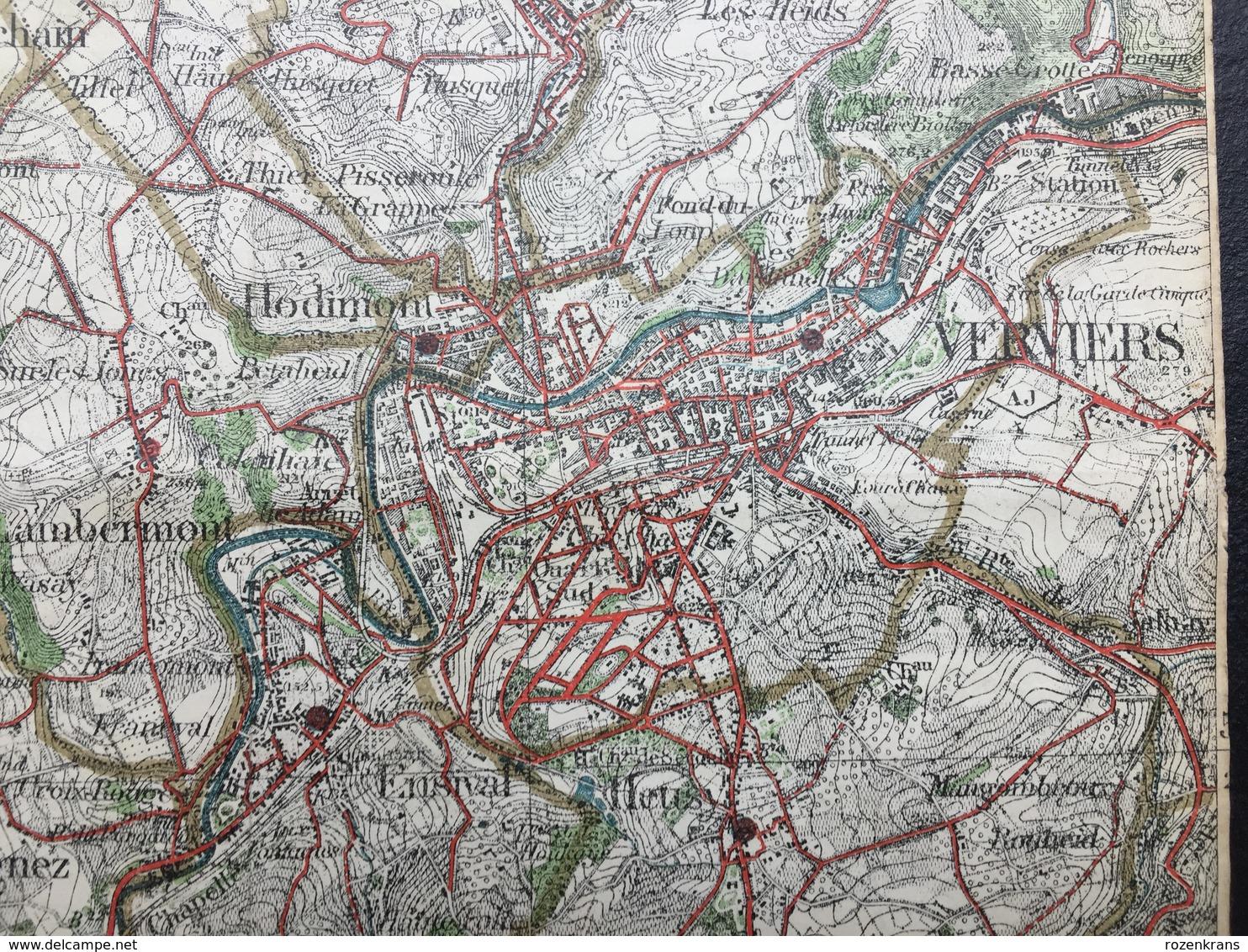 Topografische En Militaire Kaart STAFKAART 1906 Liege Verviers Embourg Herve Alleur Tilleur Jemeppe Ans Herstal - Cartes Topographiques
