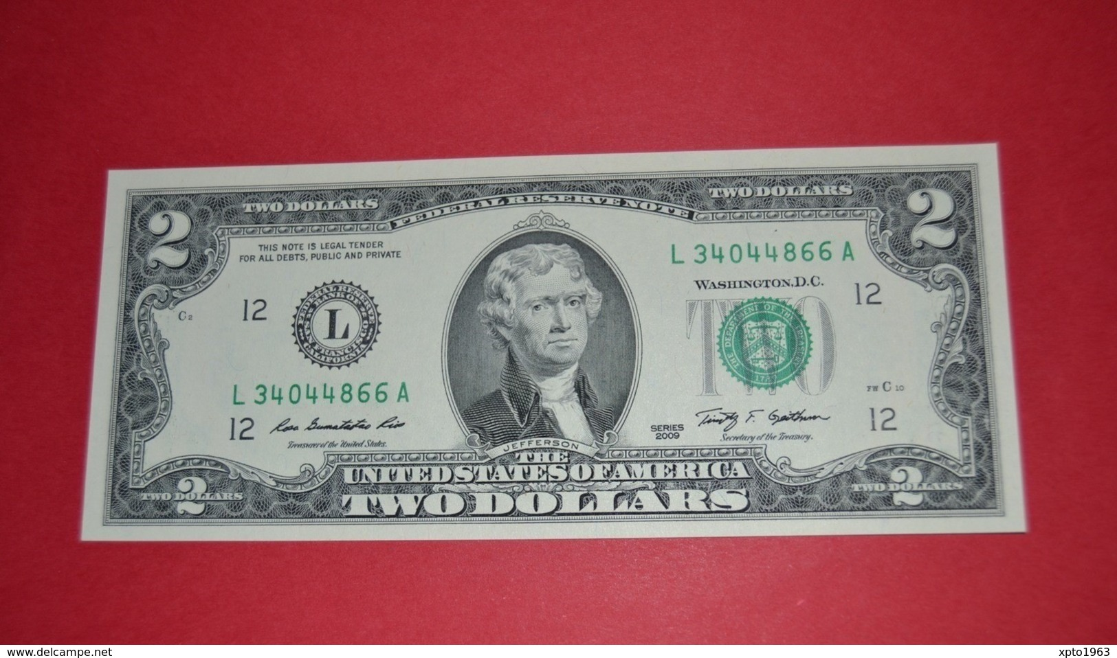 """United States 2 Dollar 2009 UNC P New  """"L"""" California / San Francisco - UNC - NEUF - FDS - Federal Reserve (1928-...)"""