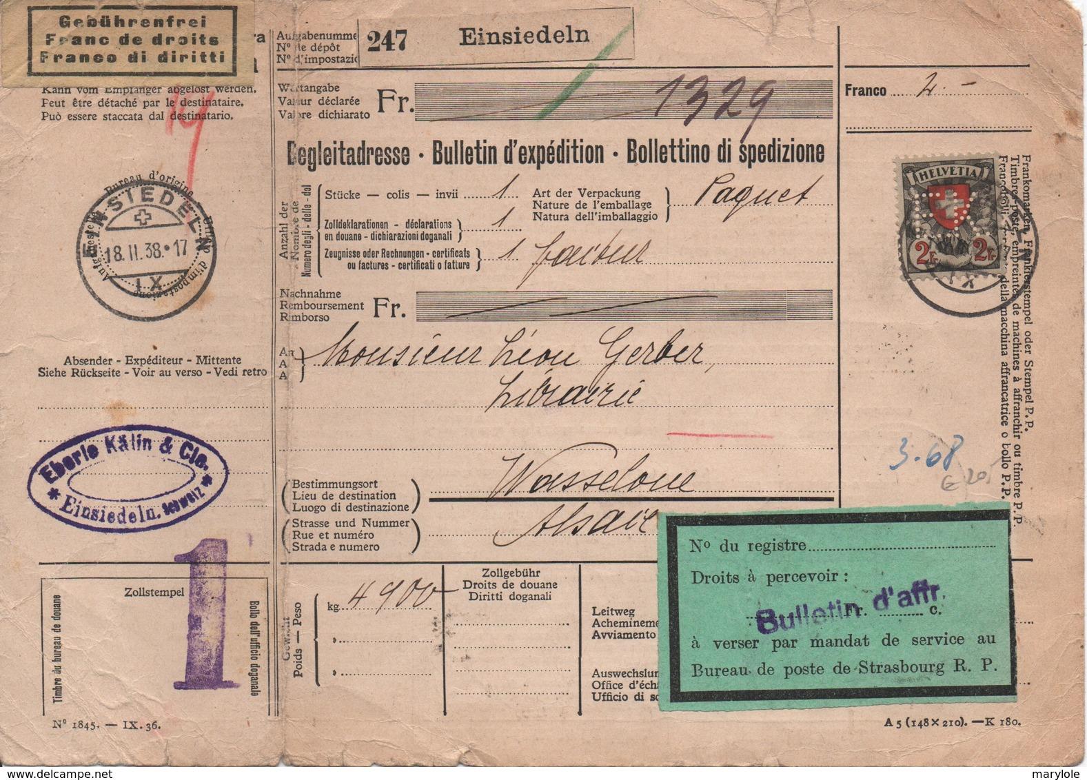 SUISSE  -  Bulletin D'expédition  2 Fr. Avec  Perforation   E . K . - Railway