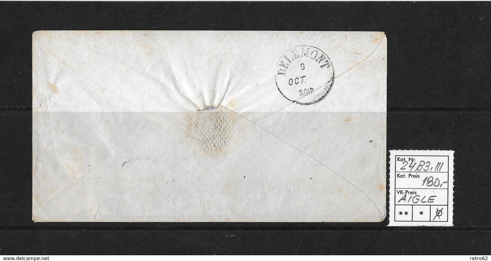 1854-1862 Helvetia (Ungezähnt) Strubel → 1857 Umschlag AIGLE Nach Delémont  ►SBK-24B3.III◄ - Lettres & Documents