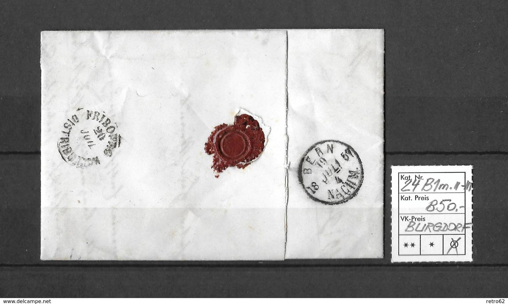 1854-1862 Helvetia (Ungezähnt) Strubel → 1857 Brief BURGDORF Nach Freiburg  ►SBK-24B1m.II/III◄ - Lettres & Documents