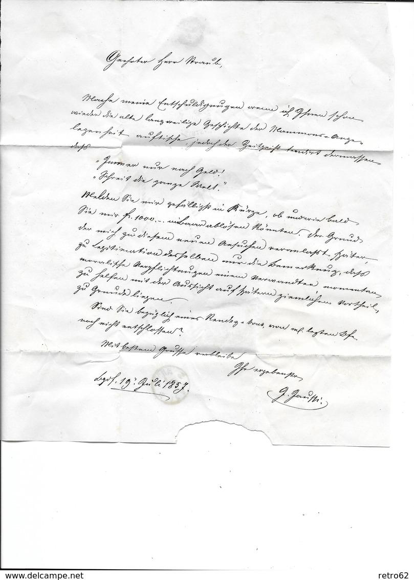1854-1862 Helvetia (Ungezähnt) Strubel → 1857 Brief BURGDORF Nach Freiburg  ►SBK-24B1m.II/III◄ - 1854-1862 Helvetia (Non-dentelés)
