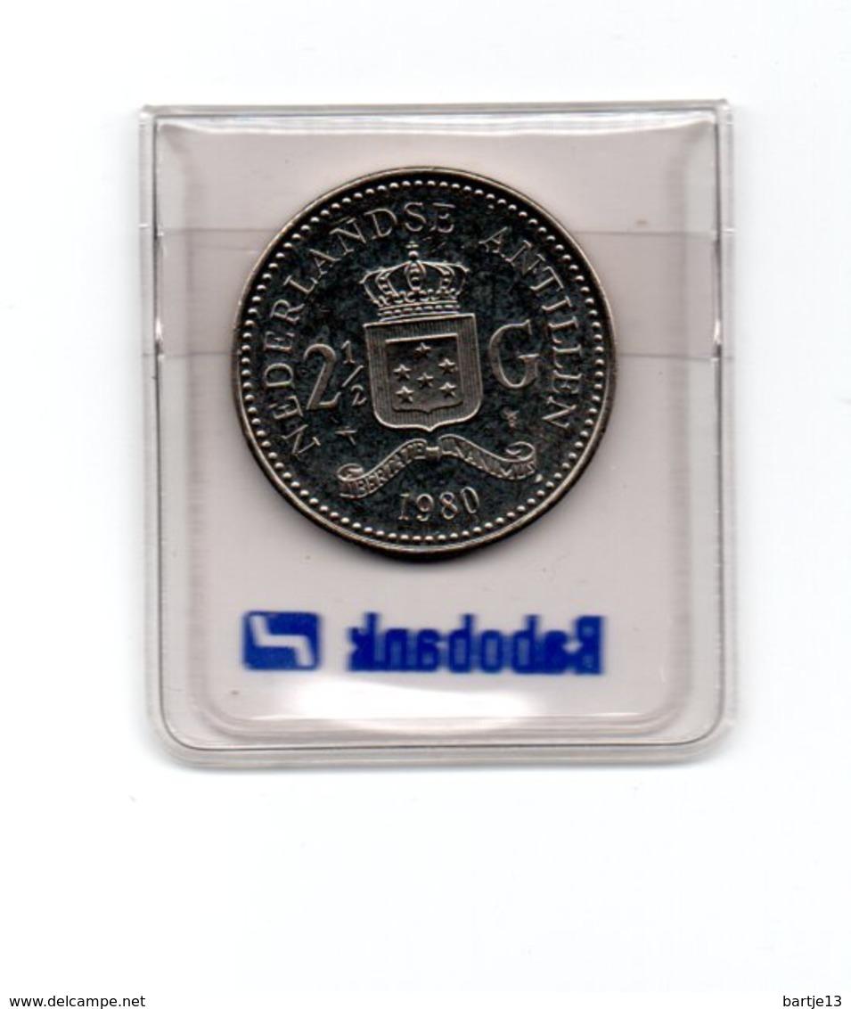 NEDERLANDSE ANTILLEN 2 1/2 GULDEN 1980 BEATRIX UNC. - Antillen (Niederländische)