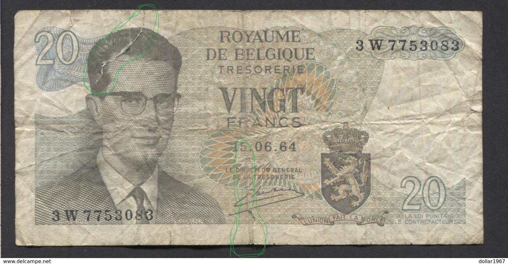 België Belgique Belgium 15 06 1964 -  20 Francs Atomium Baudouin. 3 W  7753083 - [ 6] Treasury
