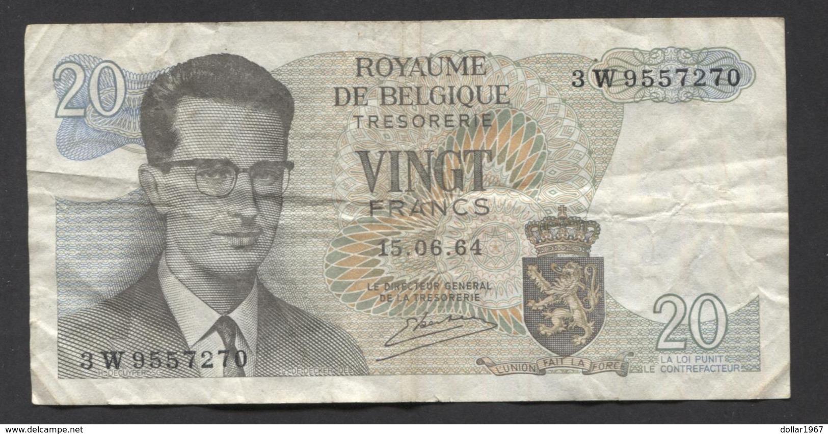 België Belgique Belgium 15 06 1964 -  20 Francs Atomium Baudouin. 3 W  9557270 - [ 6] Treasury