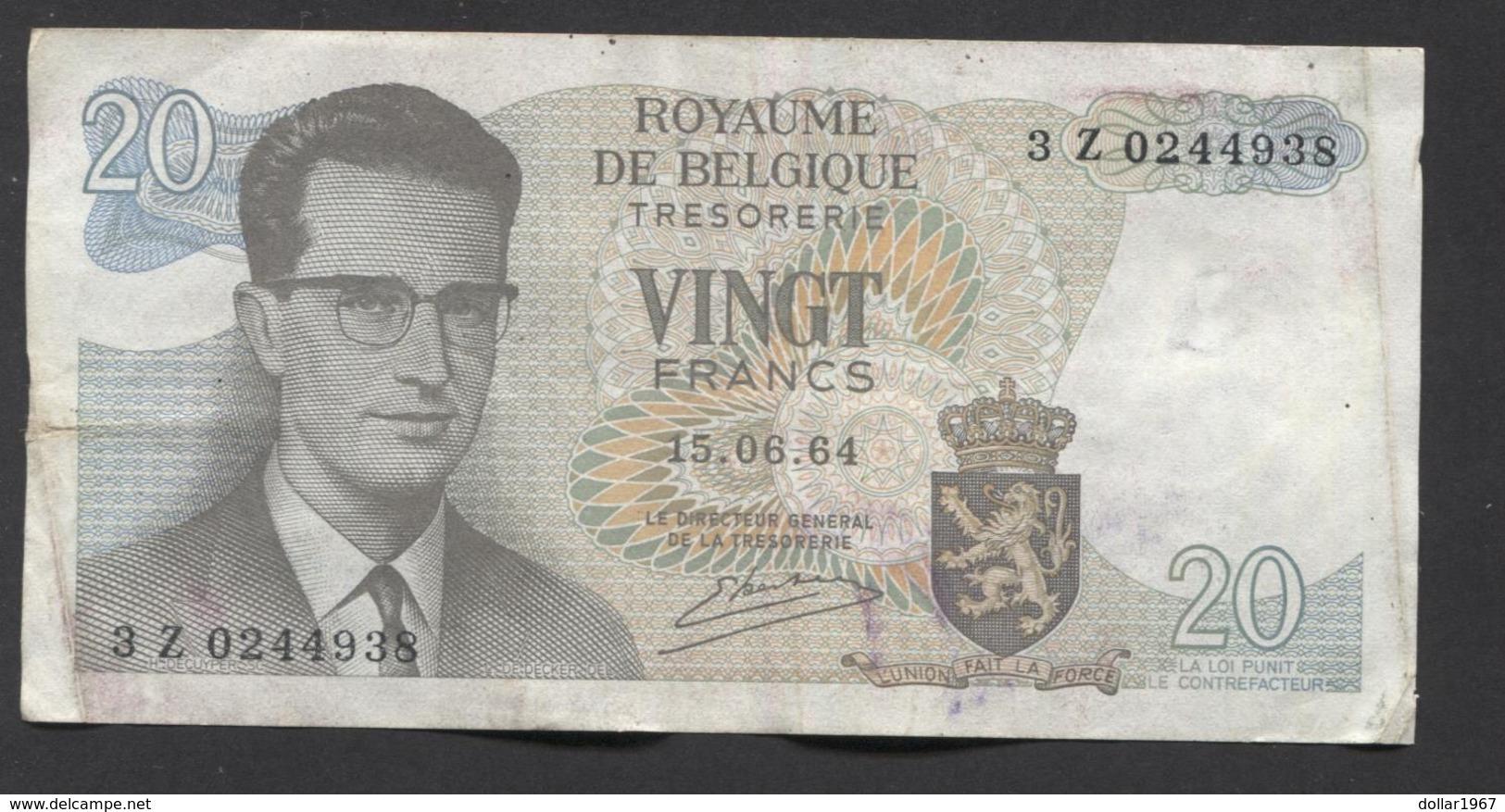 België Belgique Belgium 15 06 1964 -  20 Francs Atomium Baudouin. 3 Z 0244938 - [ 6] Treasury