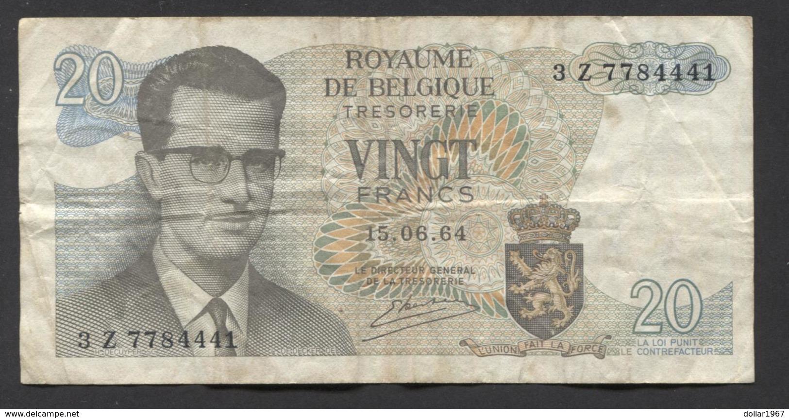 België Belgique Belgium 15 06 1964 -  20 Francs Atomium Baudouin. 3 Z  7784441 - [ 6] Treasury