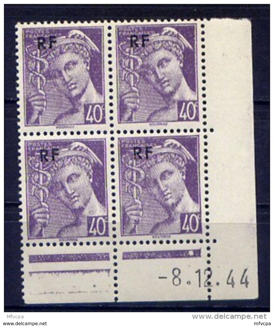 Cd4727 YvT N 659 Mercure RF 40c Violet Coin Daté 08/12/44 - Coins Datés