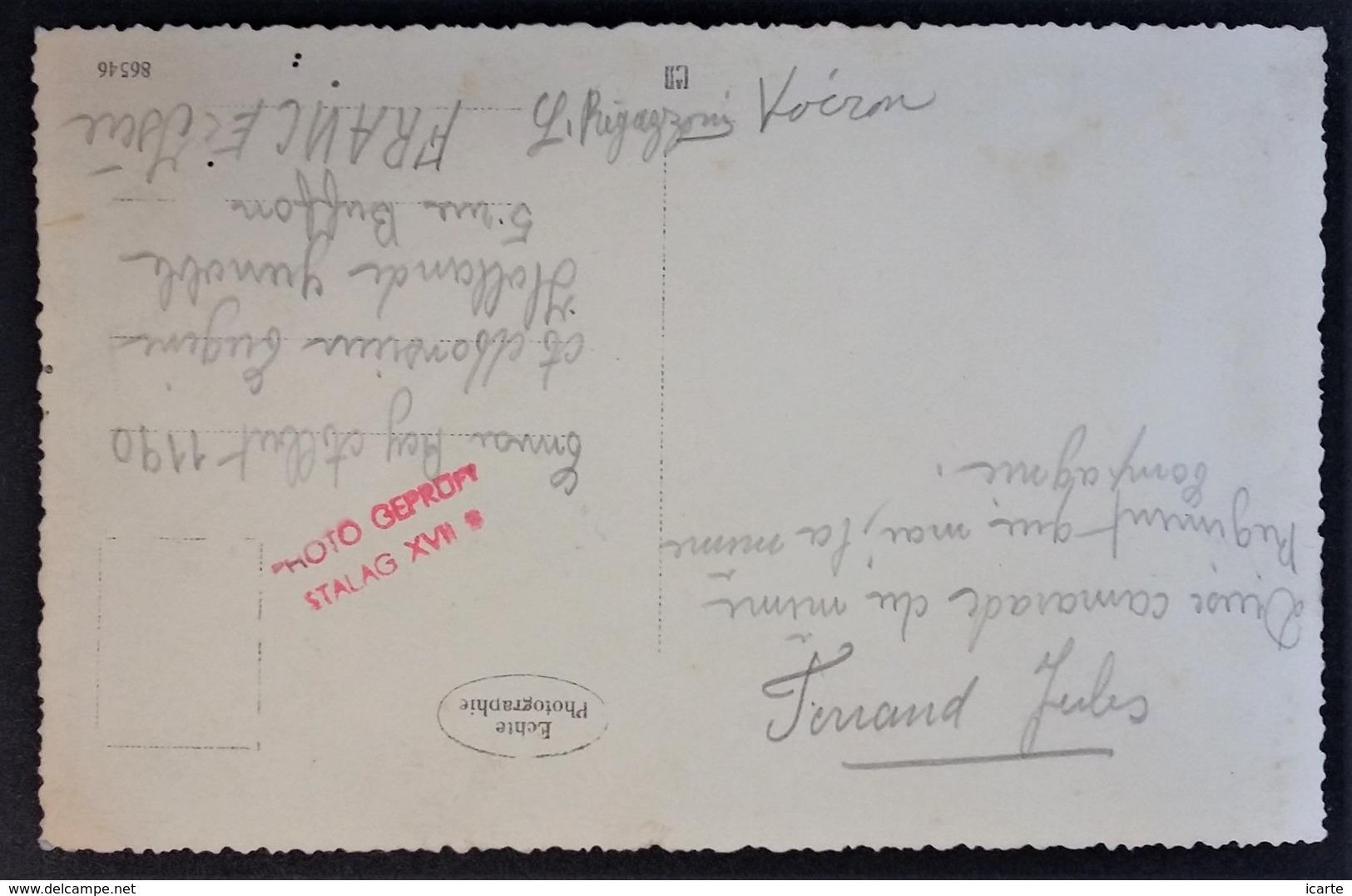 """CP Photo Prisonniers De Guerre Cachet """" PHOTO GEPRÜFT STALAG XVII B """" Krems Österreich Vers Genoble - Marcophilie (Lettres)"""