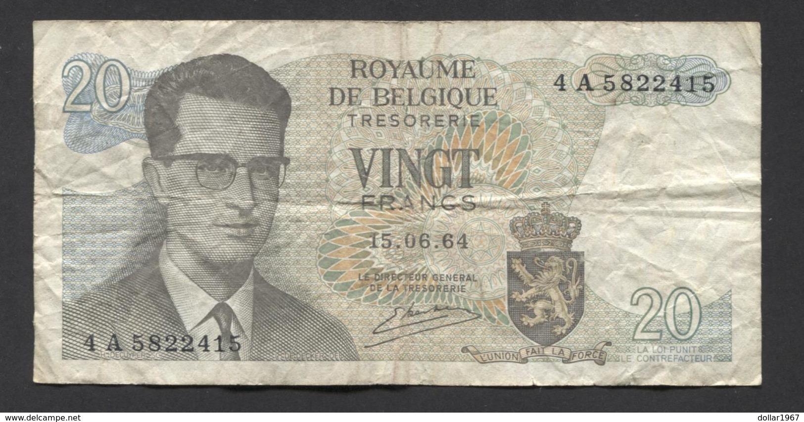 België Belgique Belgium 15 06 1964 -  20 Francs Atomium Baudouin. 4 A 5822415 - [ 6] Treasury