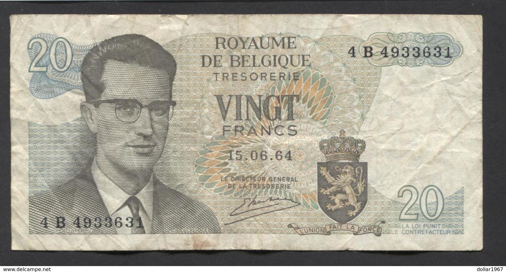 België Belgique Belgium 15 06 1964 -  20 Francs Atomium Baudouin. 4 B 4933631 - [ 6] Treasury