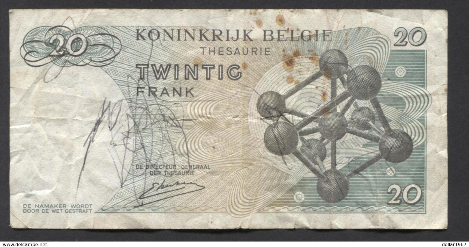 België Belgique Belgium 15 06 1964 -  20 Francs Atomium Baudouin. 4 B 9427325 - [ 6] Treasury