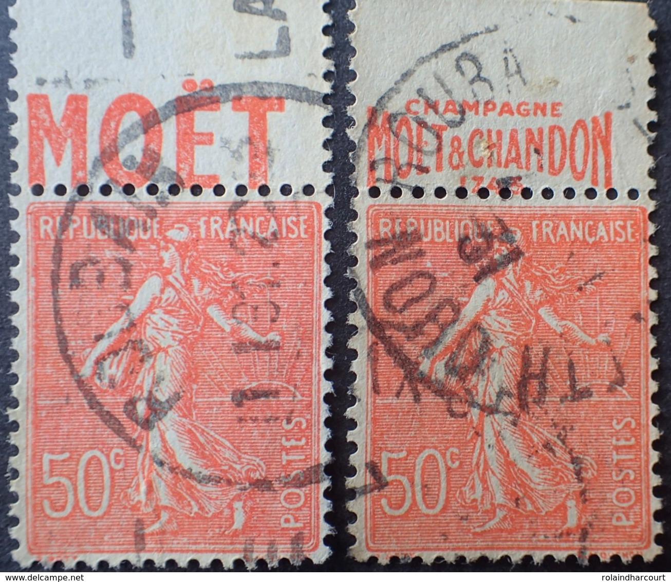 R1934/88 - 1924 - TYPE SEMEUSE LIGNEE - N°199 ☉ BANDE PUBLICITAIRE ☛ CHAMPAGNE MOET ET CHANDON 1743 - Advertising