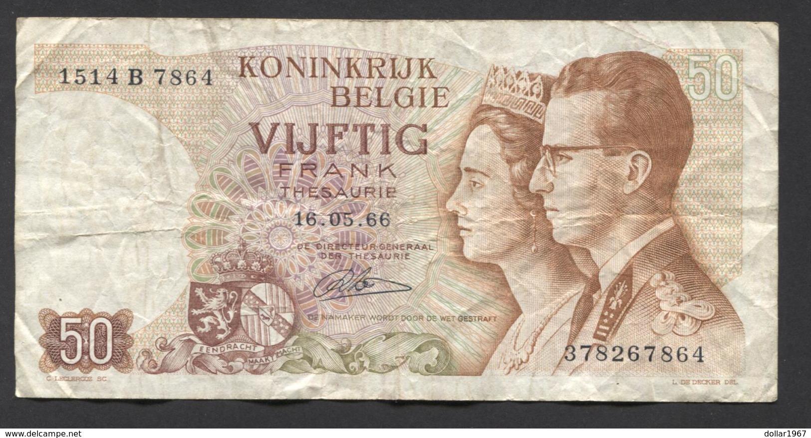 België 50 Frank 14-5- 1966 -NO: 1514 B 7864 - [ 6] Treasury