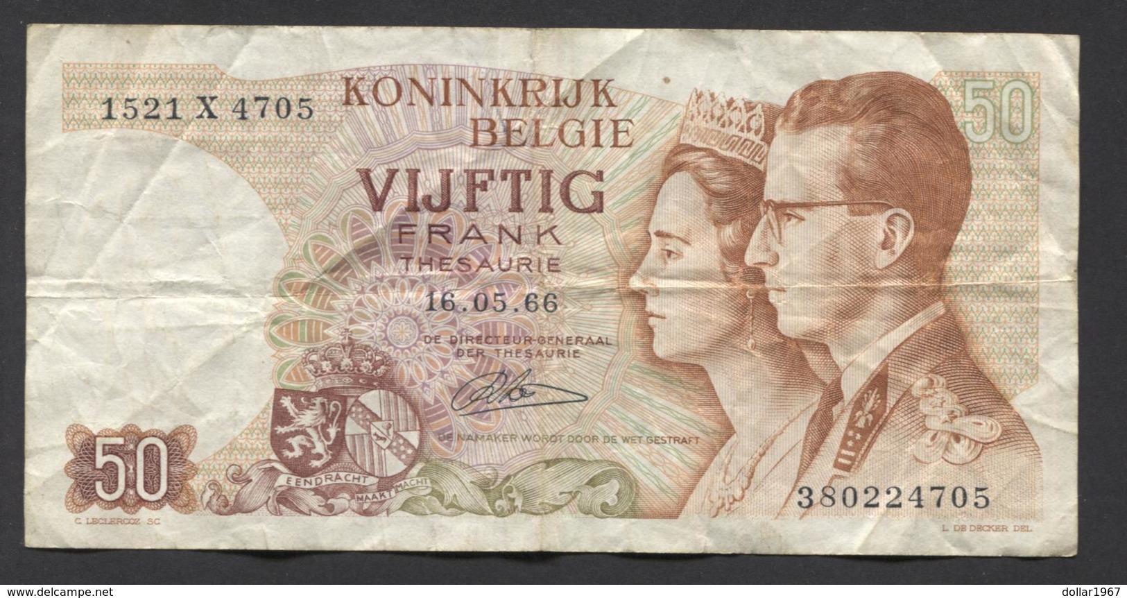 België 50 Frank 14-5- 1966 -NO: 1521 X 4705 - [ 6] Staatskas