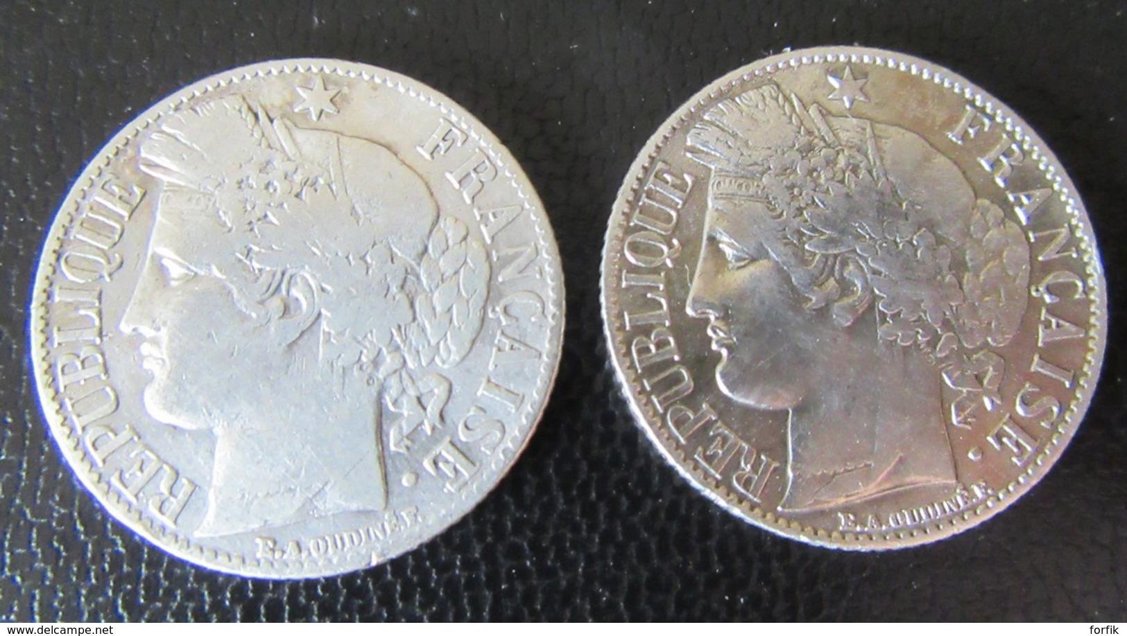 France - Lot De 7 Monnaies 1 Franc Et 2 Francs Cérès Et Semeuse Roty 1887/1915 - Argent - France