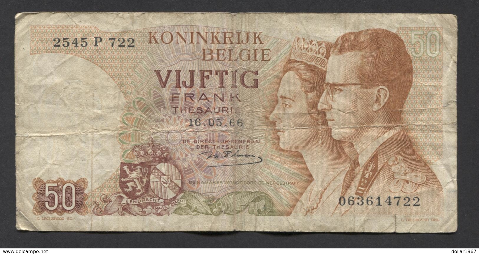 België 50 Frank 14-5- 1966 -NO: 2545 P 722 - [ 6] Staatskas