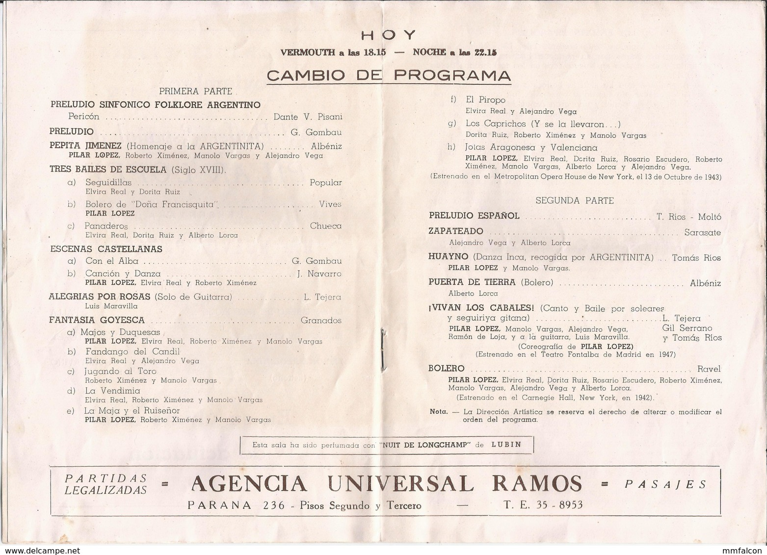 FLAMENCO - Ballet Español De PILAR LOPEZ - Programa 1950' - Programas