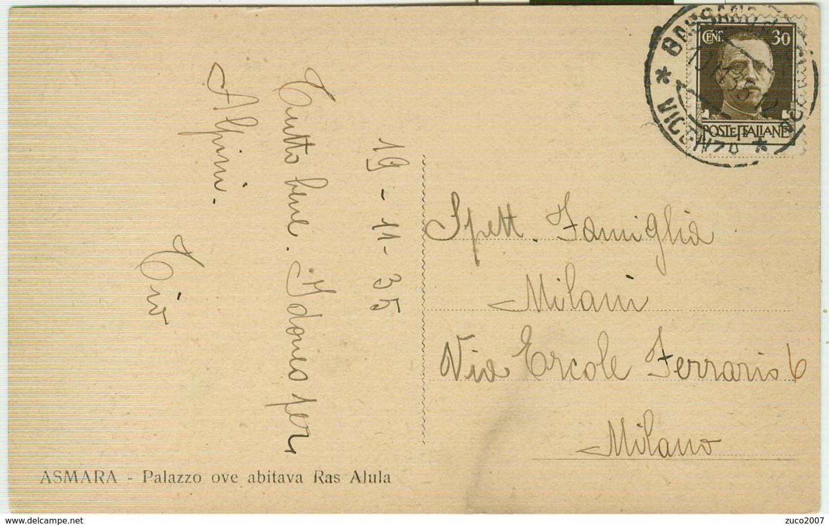ASMARA(ERITREA), PALAZZO OVE ABITAVA RAS ALULA,B/N,VIAGGIATA,1935, - Eritrea