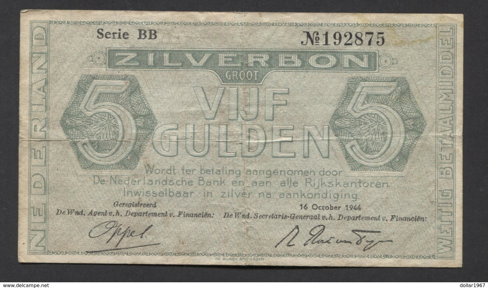 Netherlands 5 Gulden 1944. - Serrie BB - No 192875 - See The 2 Scans For Condition.(Originalscan ) - [2] 1815-… : Regno Dei Paesi Bassi