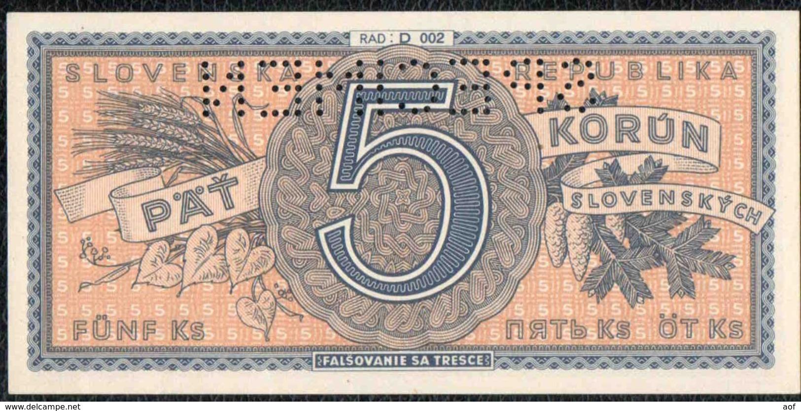 5 SLOVAQUIE Spécimen - Slovaquie