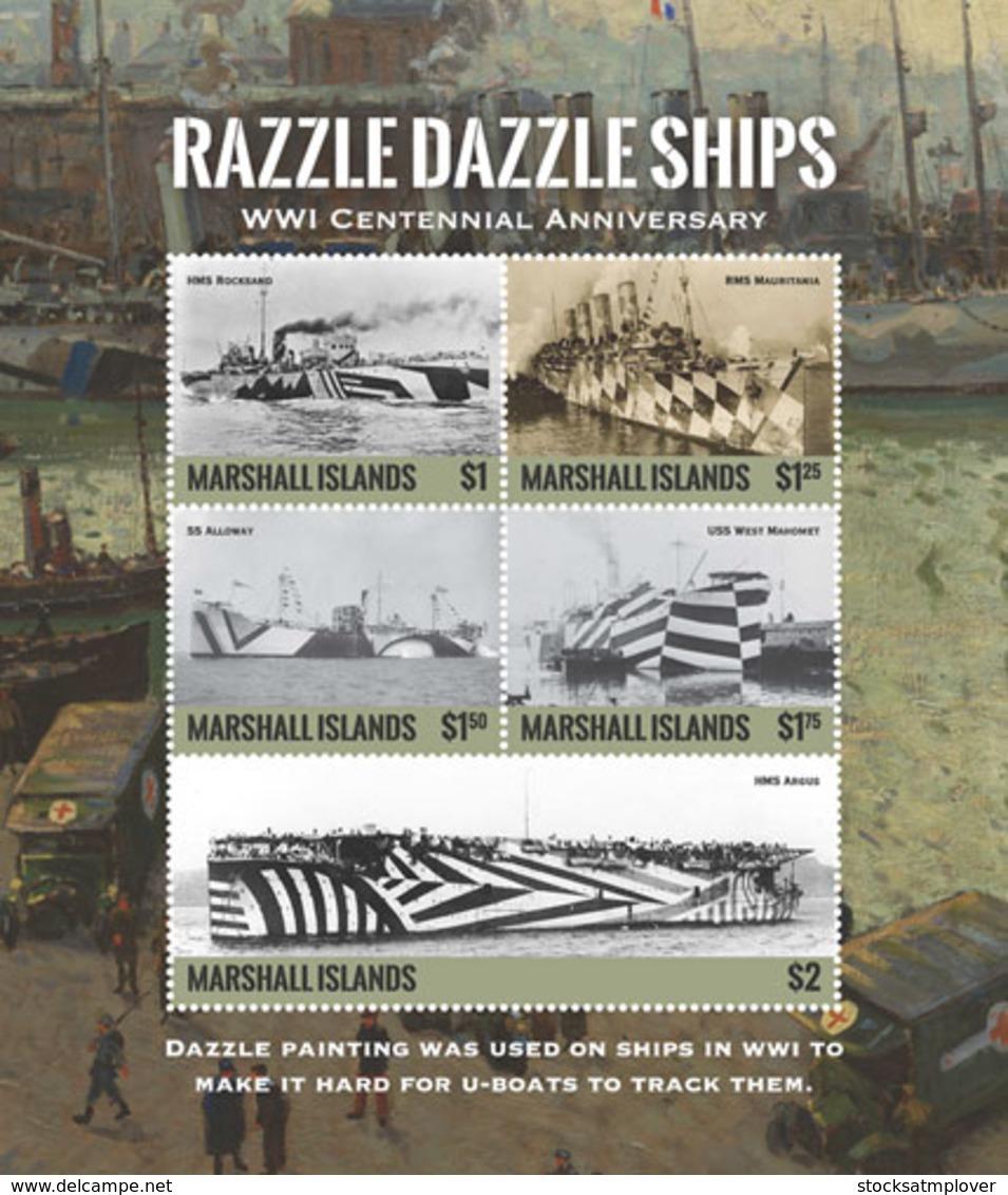 Marshall Islands   2018  WORLD WAR I ,RAZZLE DAZZLE SHIPS   I201901 - Marshall Islands