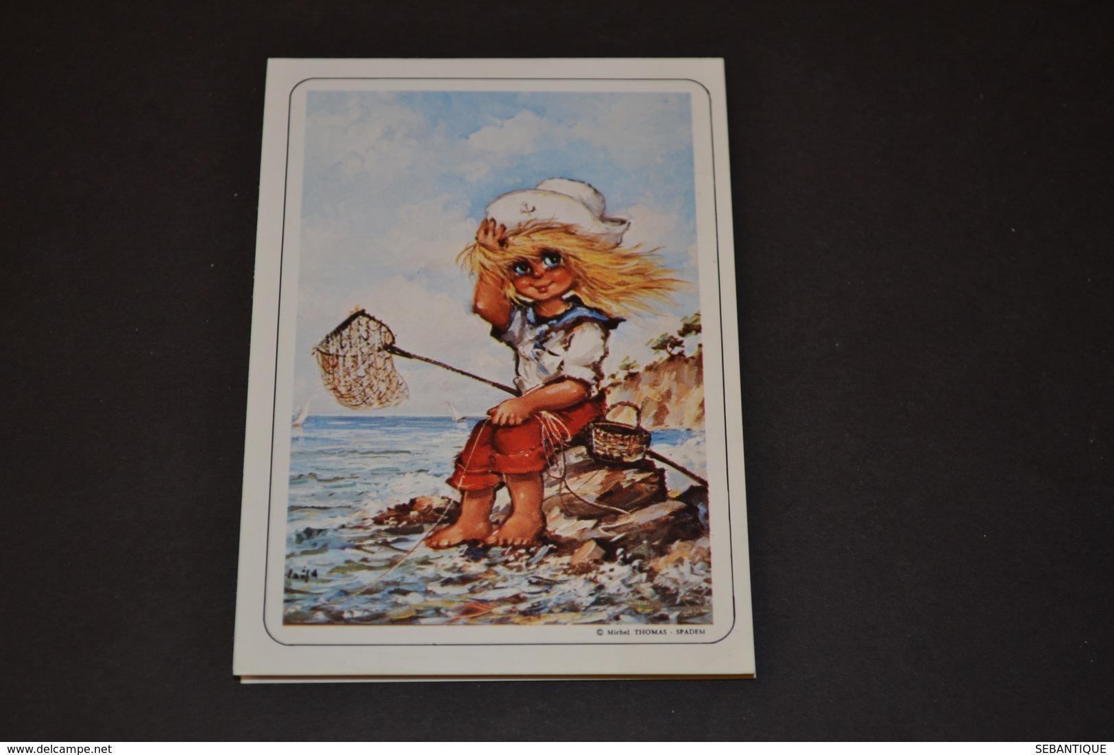 Mini Calendrier 1989 Dessin Michel Thomas Pêche En Bord De Mer - Calendriers