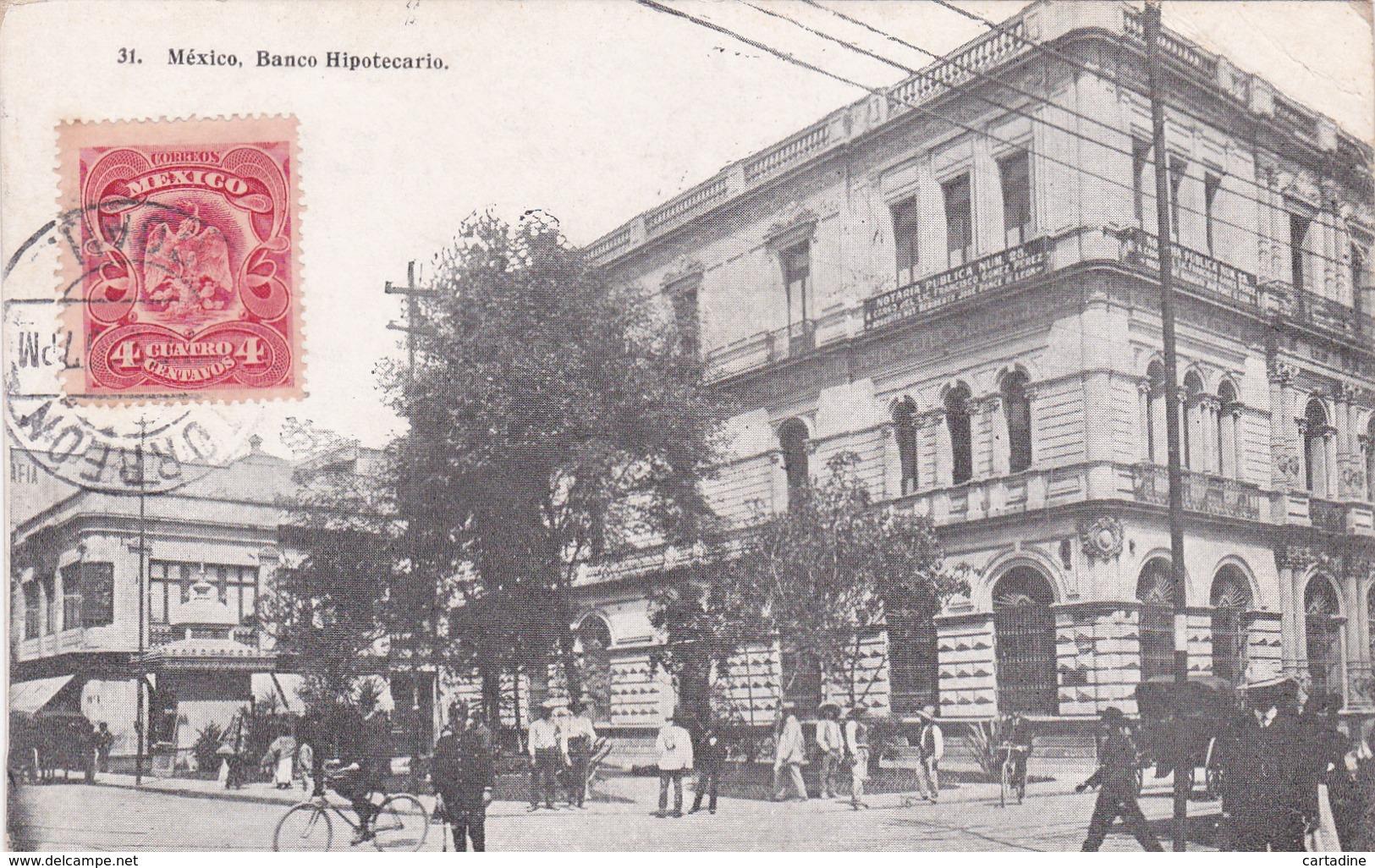 CPA Mexico / Mexique - Banco Hipotecario - 1910 - état Pli - Mexique