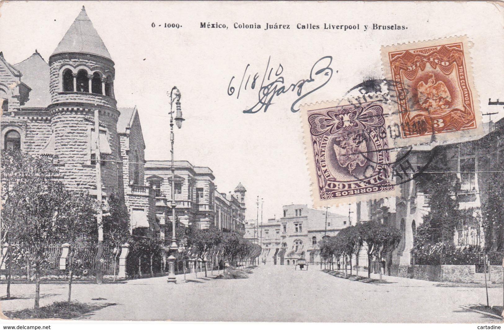 CPA Mexico / Mexique - Colonia Juarez Calles Liverpool Y Bruxelas - 1910 - Mexique