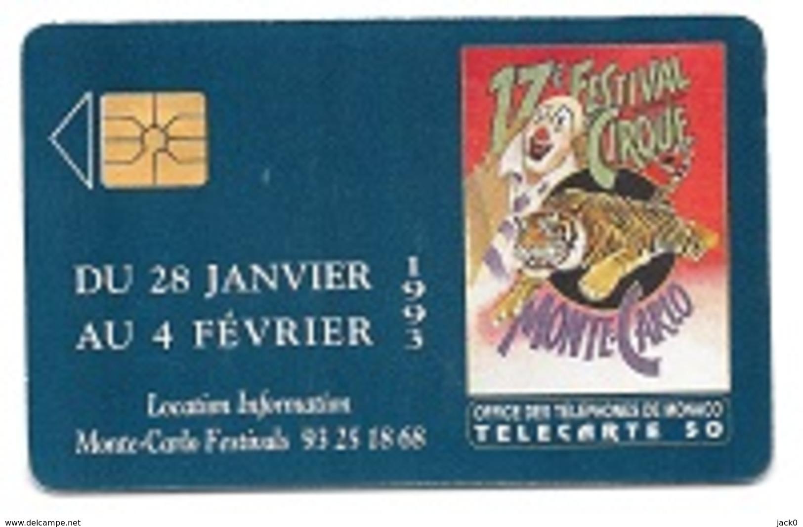 Télécarte  Ville MONACO, 17 è Festival Du Cirque, M F 25, 50 U, 12 - 92, 100 000 Ex - Monaco