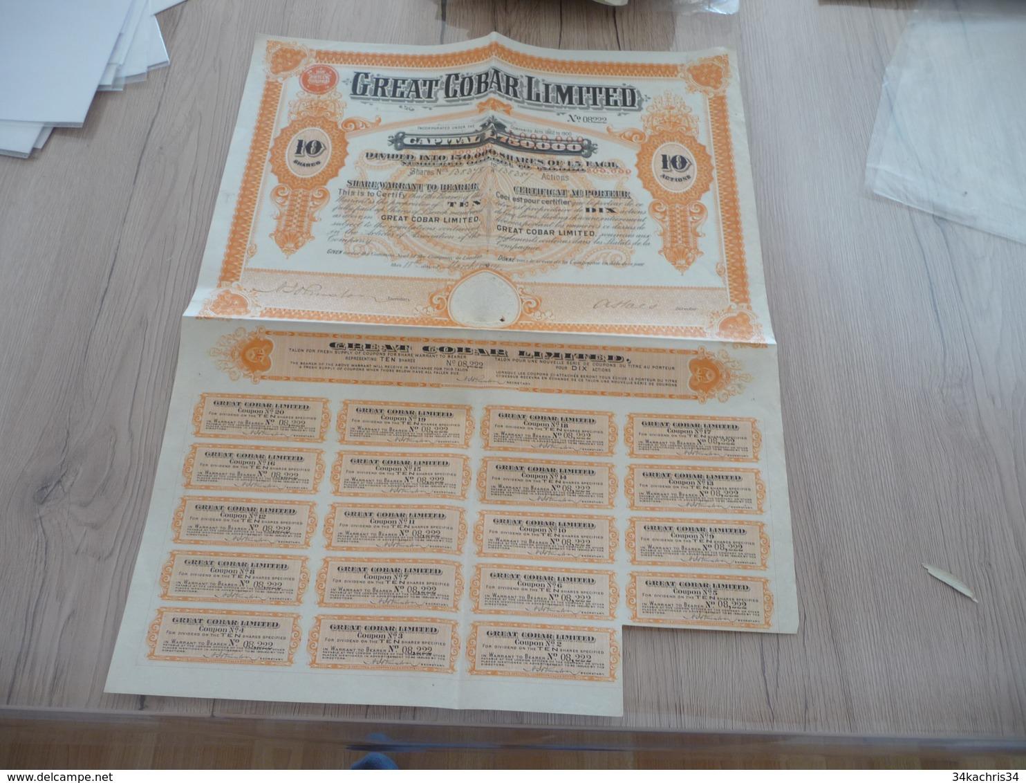 Action Certificat Au Porteur 10 Actions De 5 Livres Great Corporation Limited 1914 - Mines