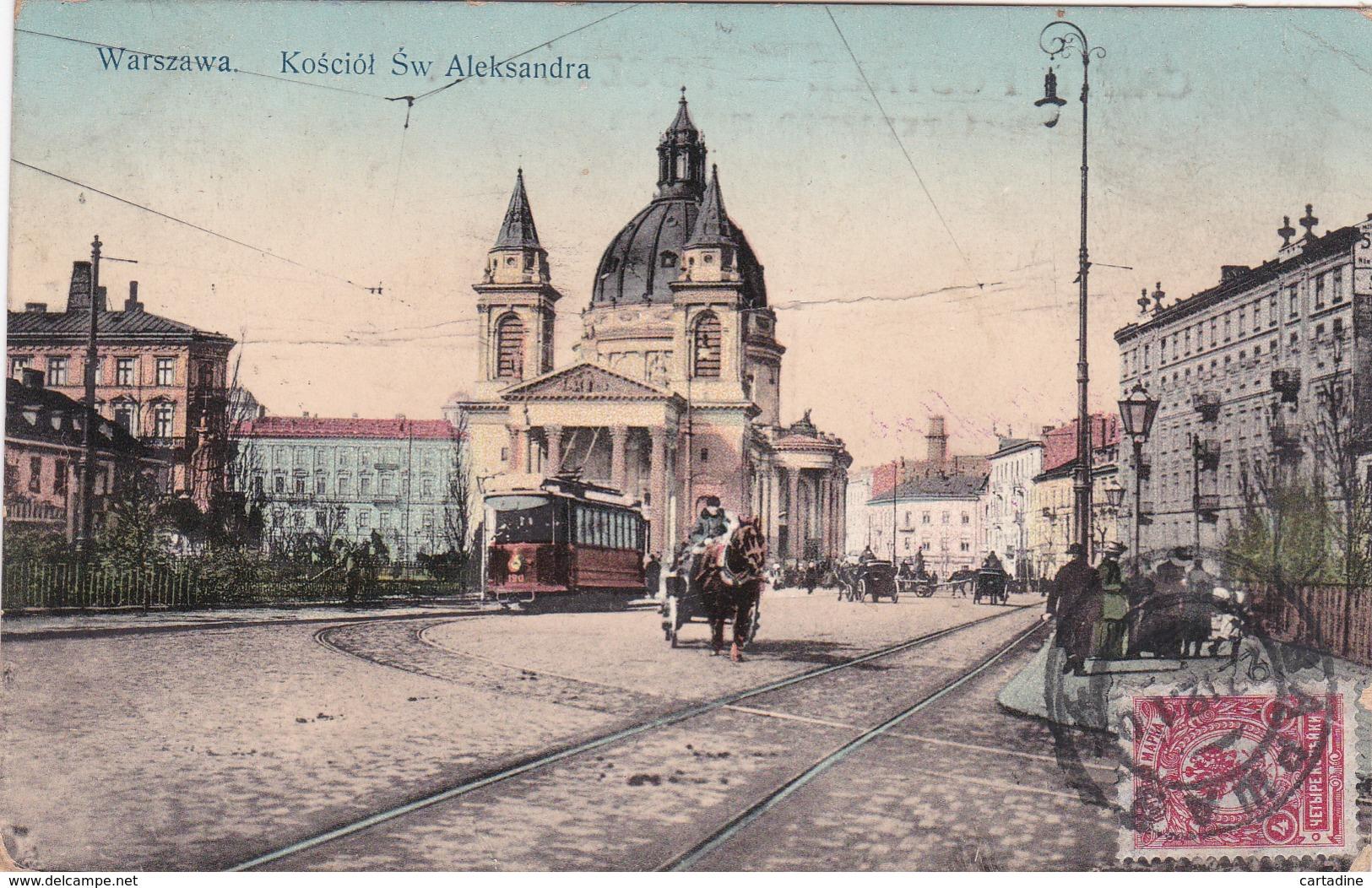 CPA  Warszawa - Kościól  Św Aleksandra - TRAM - 1911 - Attention ETAT / Condition !!!! - Pologne