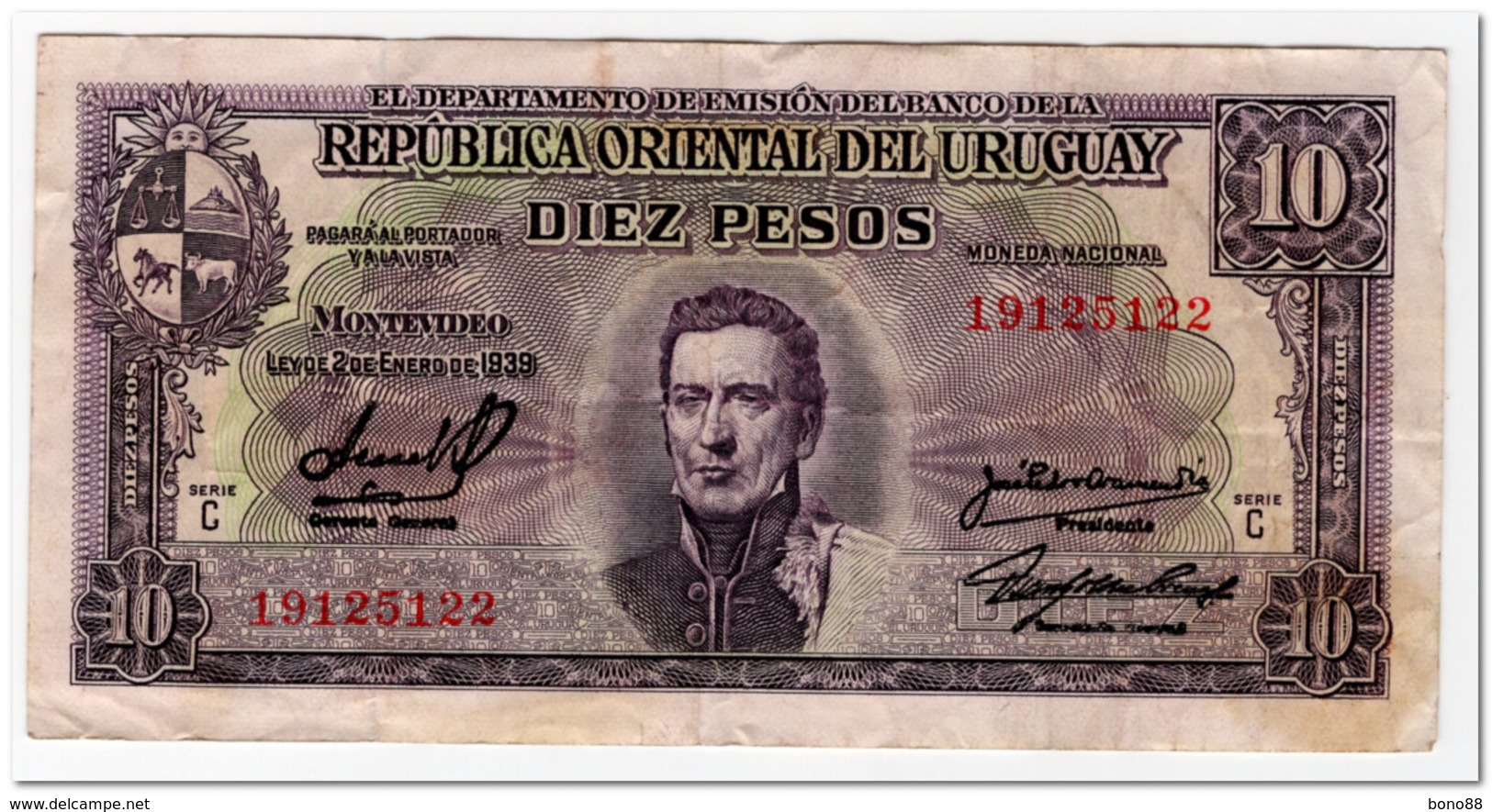 URUGUAY,10 PESOS,L.1939,P.37d,F-VF - Uruguay