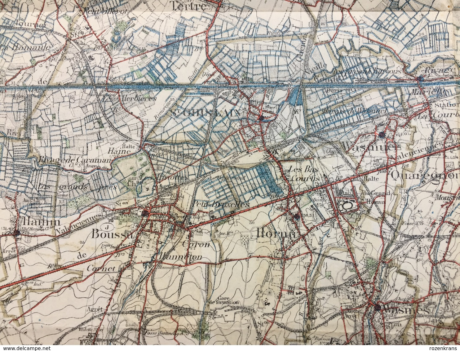 Topografische En Militaire Kaart STAFKAART Mons Borinage Hornu Dour Terte Baudour Belouil Quievrain Quaregnon Obourg - Cartes Topographiques