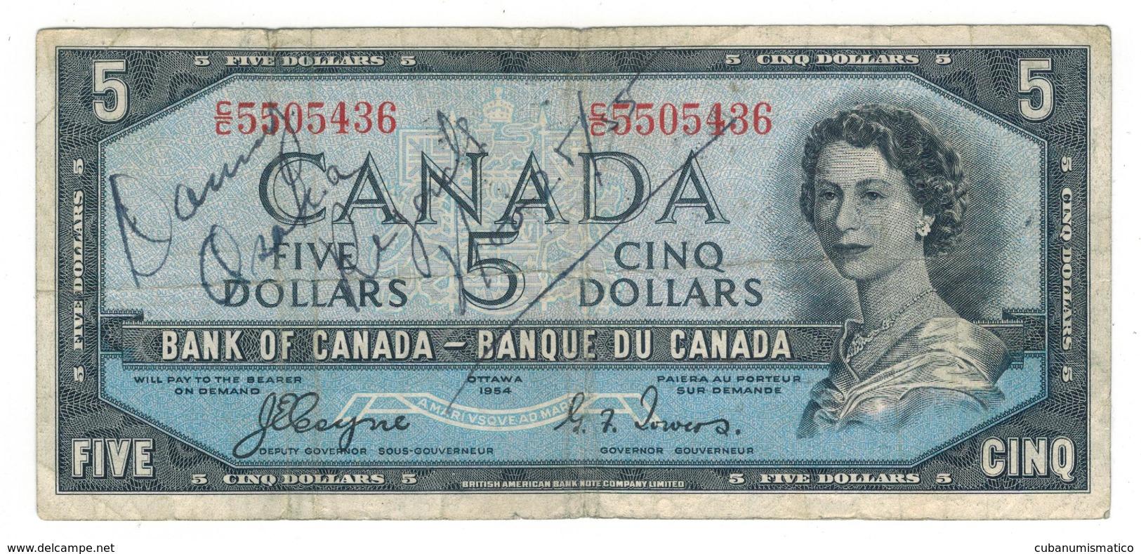 Canada 5 Dollars 1954, F/VF, Some Grafitti. See Image. - Canada