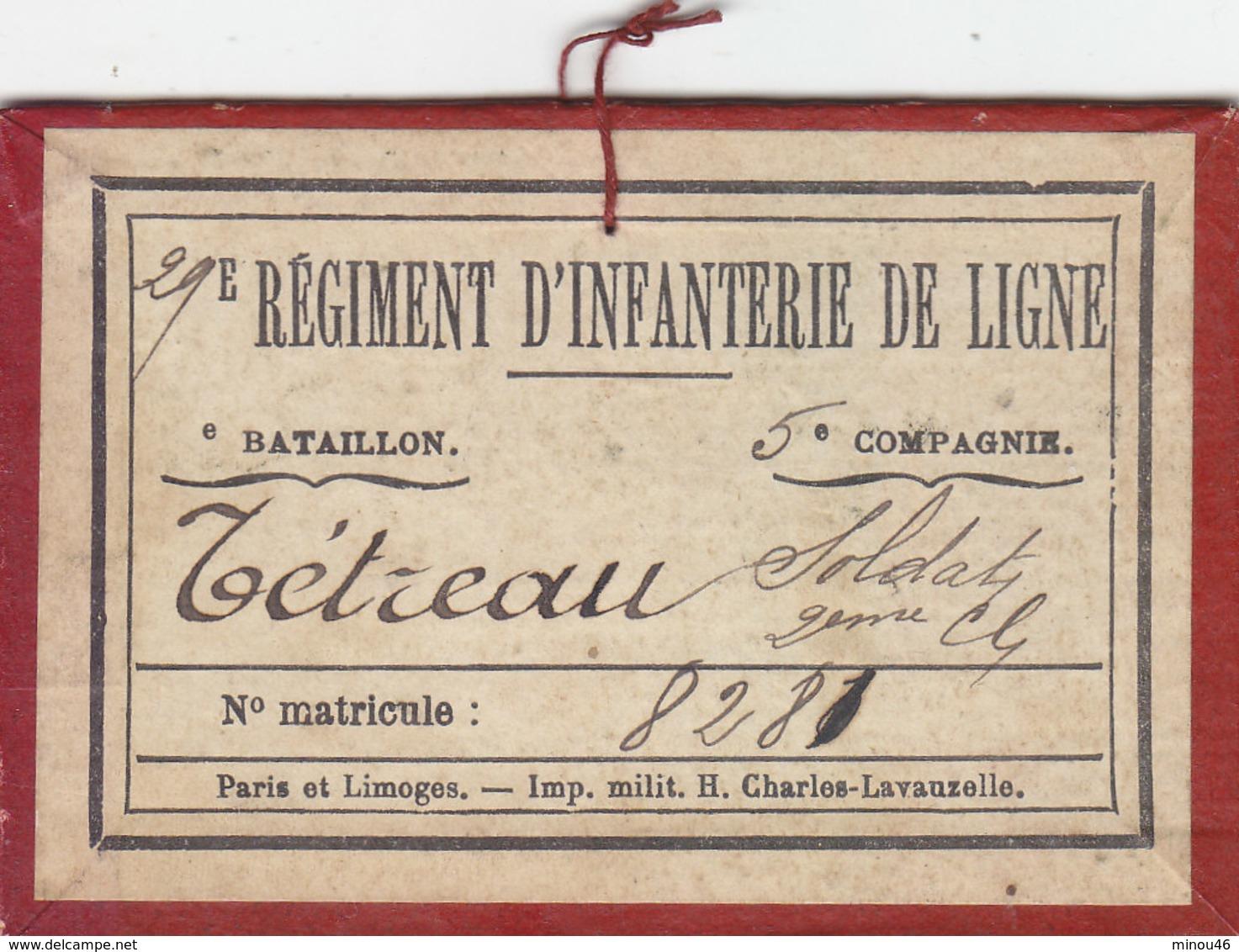 TRES RARE CARTON DE SERVICE .DU 29EME REGIMENT D INFANTERIE DE LIGNE.5EME COMPAGNIE.1926. 2EME CLASSE.T.B.ETAT - Documents