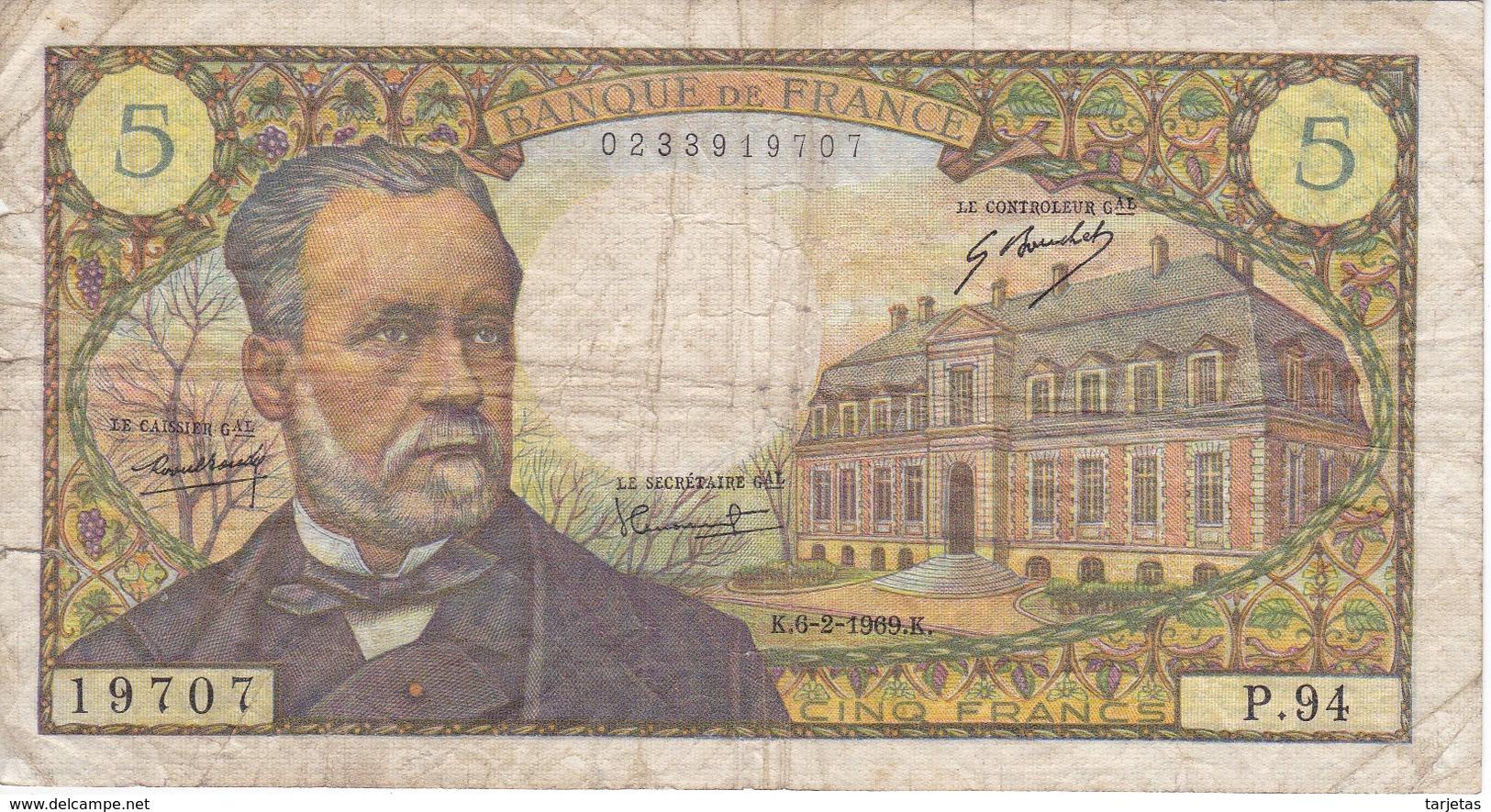 BILLETE DE FRANCIA DE 5 FRANCS DEL 6-2-1969  (BANKNOTE) PASTEUR - 1962-1997 ''Francs''