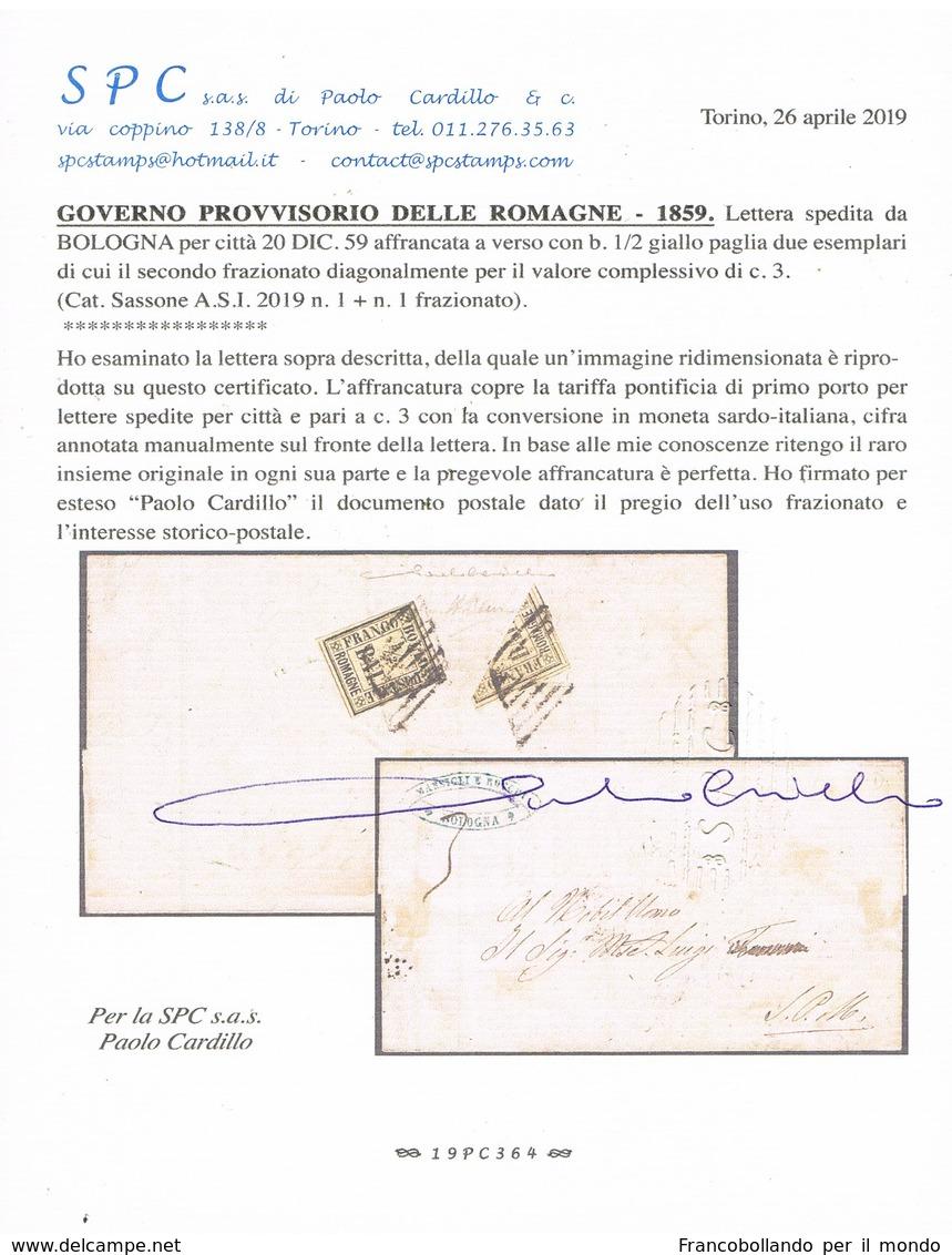 ANTICHI STATI ROMAGNE 1/2 BAI + FRAZIONATO 1/2 BAI SU LETTERA  CERTIFICATO CARDILLO MOLTO RARA - Romagne