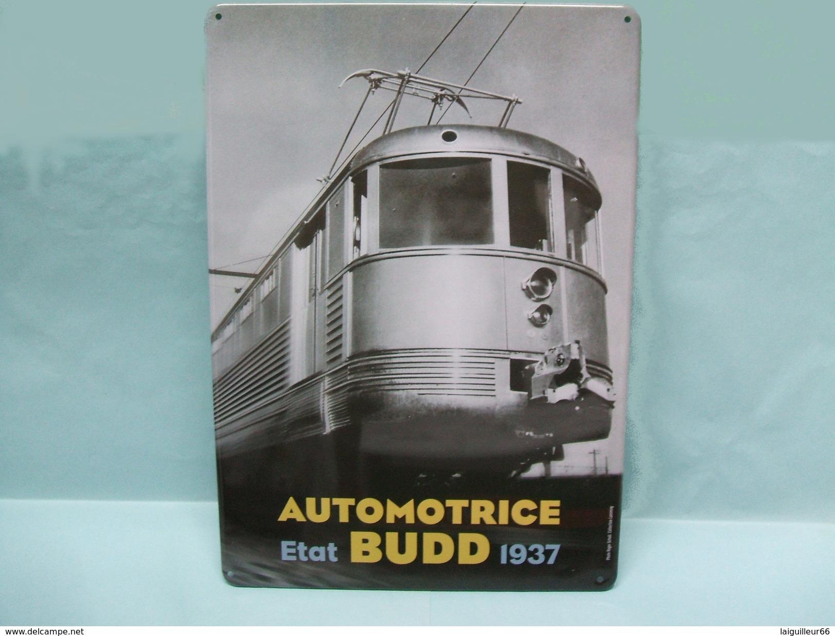 Atlas - PLAQUE EMAILLEE TOLE Métal Automotrice BUDD ETAT 1937 28,5 X 21cm NEUF - Plaques Publicitaires