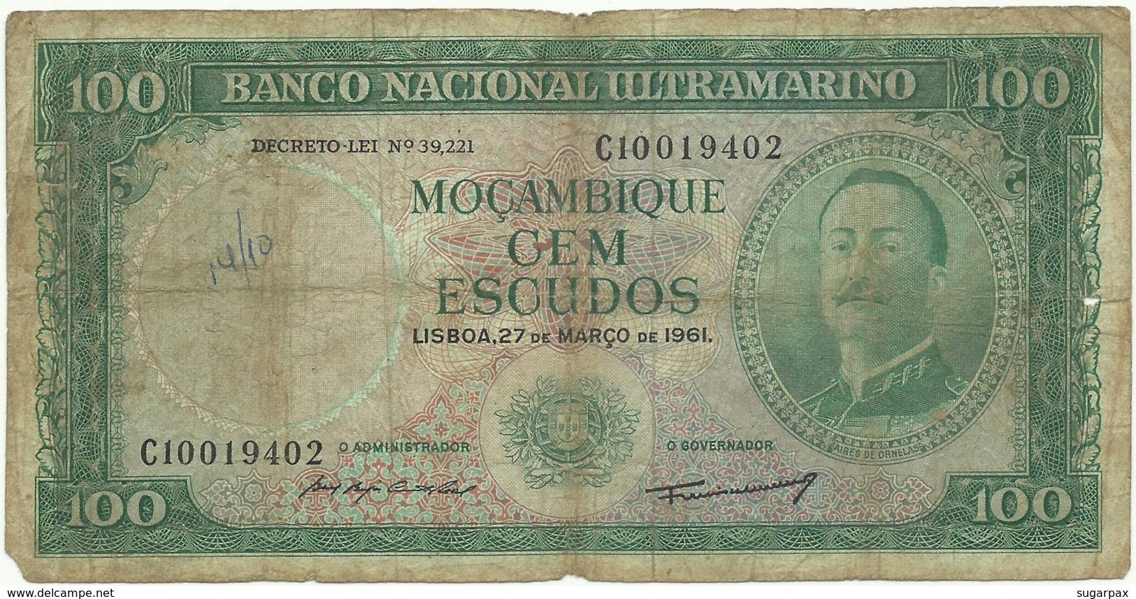 Mozambique - 100 Escudos - 27.03.1961 - P 109a - 8 Digits - Sign Varieties - AIRES DE ORNELAS - PORTUGAL - Mozambique
