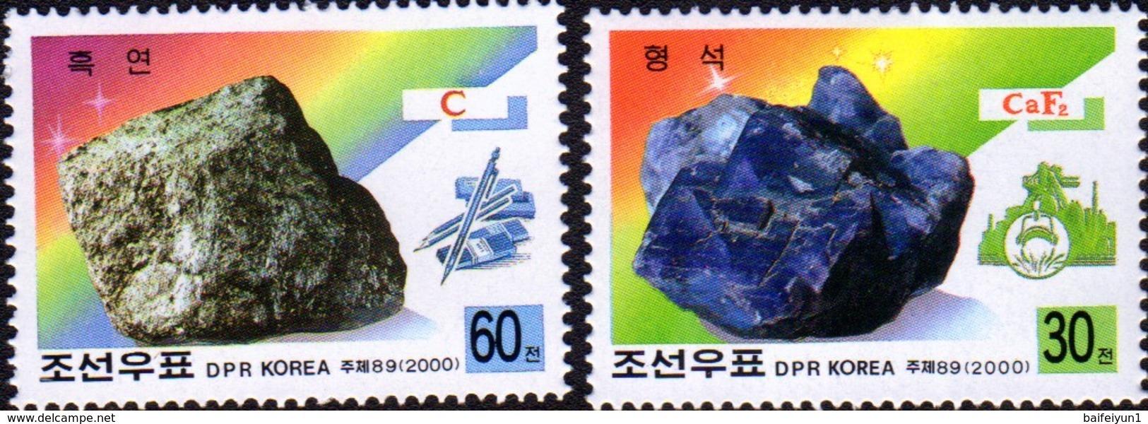 2000 North Korea Stamps Mineral Graphite And Fluorite 2v - Minerals