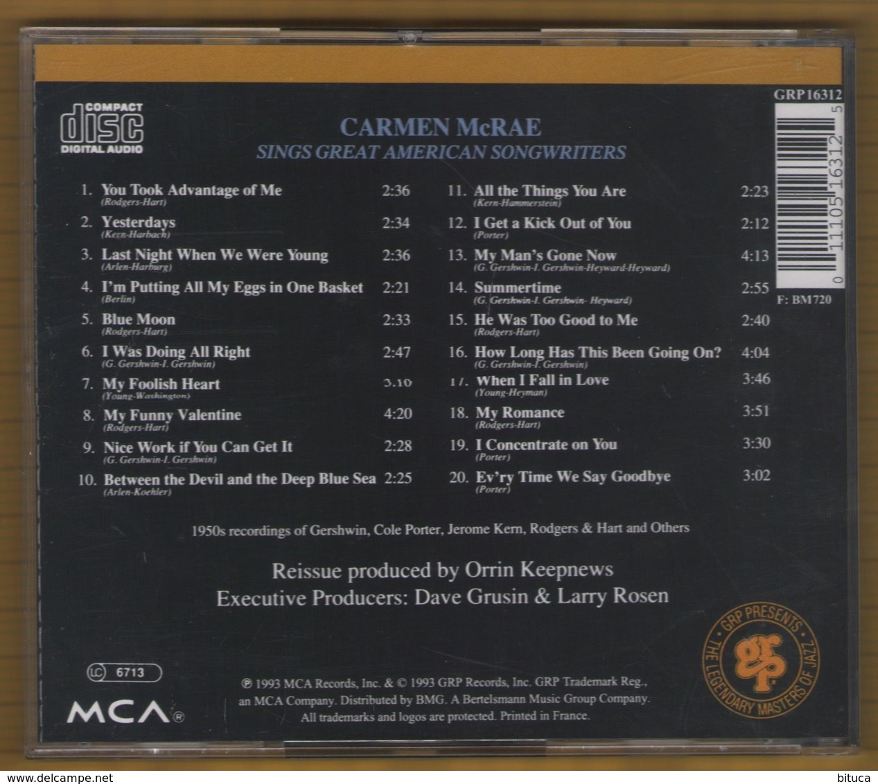 CD 20 TITRES CARMEN McRAE SINGS GREAT AMERICAN SONGWRITERS  BON ETAT & RARE - Jazz