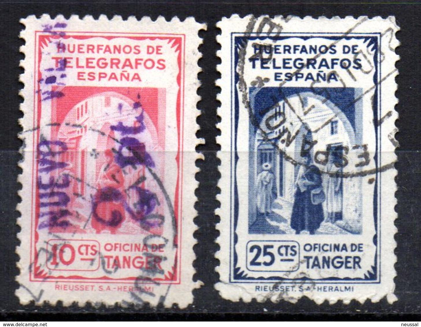 2 Sellos De Huerfanos De Telegrafos Uno Con Sobrecarga 2 Pts - Marocco Spagnolo