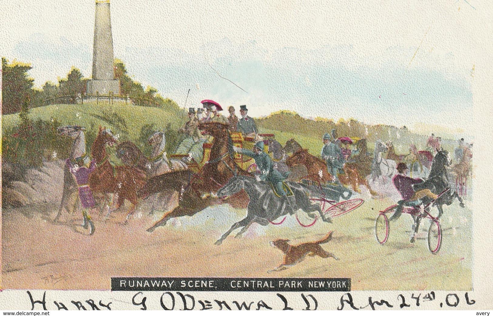 Runaway Scene, Central Park, New York - Paintings
