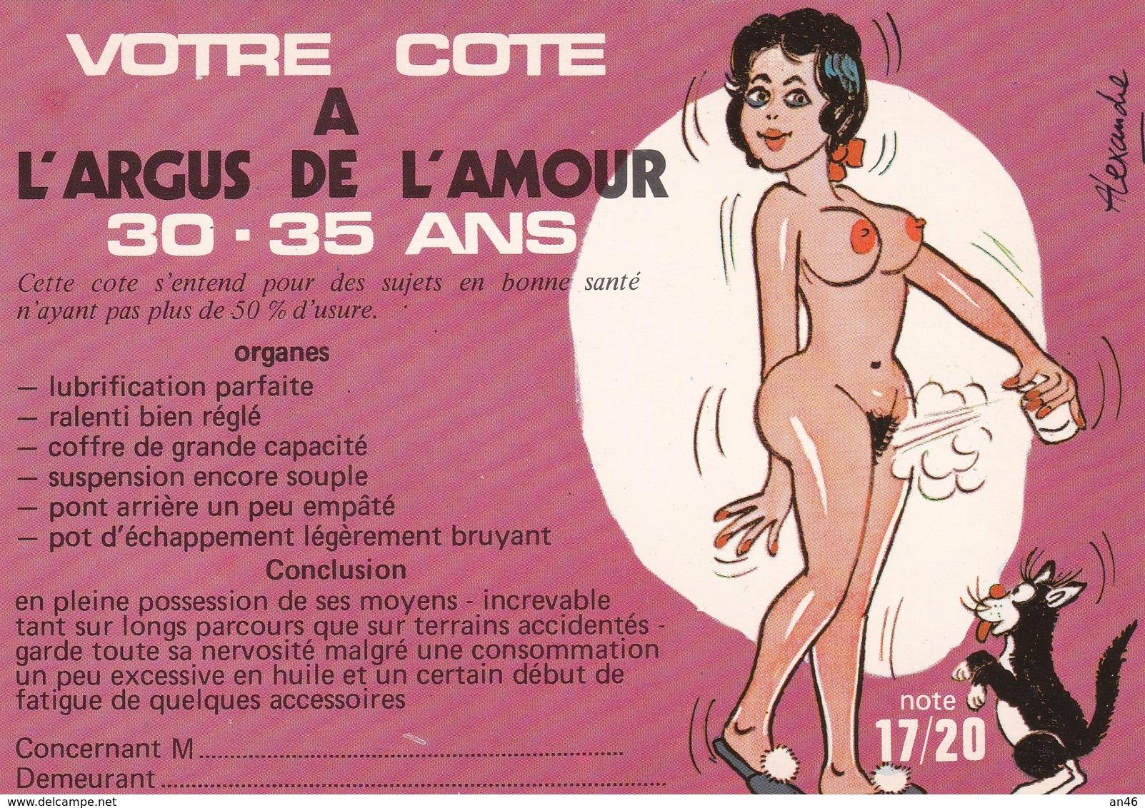 HUMOR UMORISTICHE CARICATURE DONNA VOTRE COTE A L'ARGUS DE L'AMOUR 30-35 ANS  ORIGINALE 100% - Humor